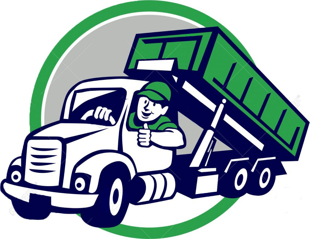 57153208 illustration of a roll off bin truck driver smiling with thumbs up viewed from front set inside circ Long Island Dumpster Rentals Made Easy